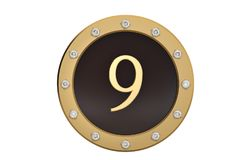 Golden and diamond framed with number 9 on white background.3D i. Llustration Royalty Free Stock Photography