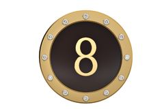 Golden and diamond framed with number 8 on white background.3D i. Llustration Stock Photography