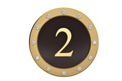 Golden and diamond framed with number 2 on white background.3D i. Llustration Stock Image