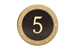 Golden and diamond framed with number 5 on white background.3D i. Llustration Stock Photo
