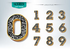 Golden and diamond metallic shiny numbers  Royalty Free Stock Photos
