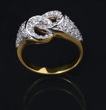 Golden diamond ring Stock Photos