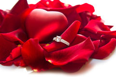 Golden diamond ring and rose Royalty Free Stock Photo