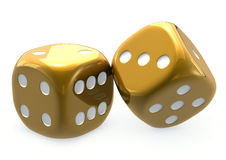 Golden Dice 2. Pair of golden dice for any board game, large  isolated, white background. Destiny, fate or luck metaphor 3D. Risky business Stock Photos