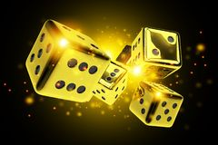 Golden Dice Casino Game. 3D Rendered Concept Illustration. Vegas Craps Stock Photography