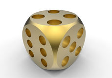 Golden dice. 3D render illustration of a golden dice. The object is isolated on a white background with shadows Royalty Free Stock Photo