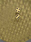 Golden dice on  plate 3d illustration Stock Images