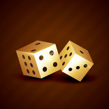 Golden dice spinning vector design Royalty Free Stock Photography