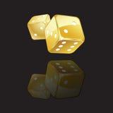 Golden dices reflection Stock Photos