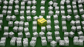 Golden die among common ones Stock Image