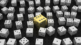Golden die among common ones over black Royalty Free Stock Image