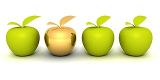 Golden different apple between other green apples Royalty Free Stock Photography