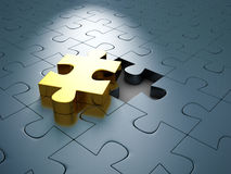Golden Different Jigsaw Puzzle Piece Out From Others. 3d Render Illustration Stock Photography