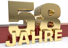 Golden digit fifty eight and the word of the year. Translated fr. Om the German - years. 3D illustration Stock Image