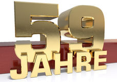Golden digit fifty nine and the word of the year. Translated fro. M the German - years. 3D illustration Stock Photography