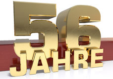 Golden digit fifty six and the word of the year. Translated from. The German - years. 3D illustration Stock Photo