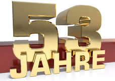 Golden digit fifty three and the word of the year. Translated fr. Om the German - years. 3D illustration Royalty Free Stock Photography