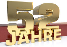 Golden digit fifty two and the word of the year. Translated from. The German - years. 3D illustration Stock Photography