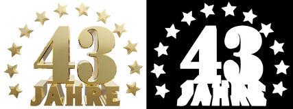 Golden digit forty three and the word of the year, decorated with stars. Translated from the German. 3D illustration Stock Photo
