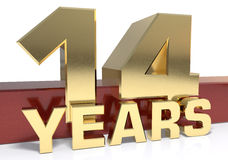 Golden digit fourteen and the word of the year. 3D illustration.  royalty free illustration