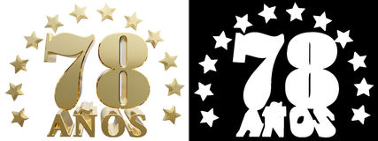 Golden digit seventy eight and the word of the year, decorated with stars. Translated from the Spanish. 3D illustration Stock Photo