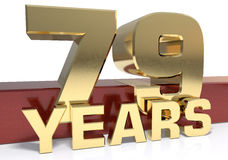 Golden digit seventy nine and the word of the year. 3D illustrat Royalty Free Stock Photography