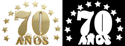 Golden digit seventy and the word of the year, decorated with stars. Translated from the Spanish. 3D illustration Stock Image