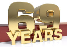 Golden digit sixty nine and the word of the year. 3D illustratio Stock Photo