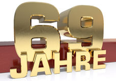 Golden digit sixty nine and the word of the year. Translated fro Stock Photos