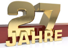 Golden digit twenty seven and the word of the year. Translated f Stock Image