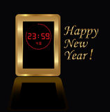Golden digital clock Royalty Free Stock Images