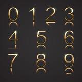 Golden Digits with Diamonds. Golden font digits with diamonds. Set 3 Stock Photos