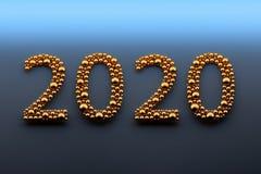 Golden 2020 digits made of balls royalty free illustration