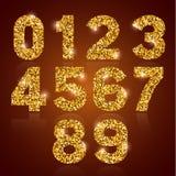 Golden digits set Royalty Free Stock Photo