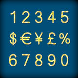 Golden digits and symbols collection - eps10 currency Stock Photography