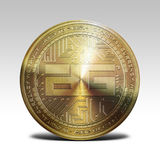 Golden digixDAO coin isolated on white background 3d rendering. Illustration Stock Images