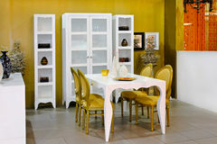 Golden dining room Royalty Free Stock Photography