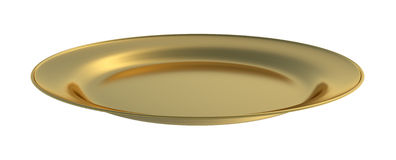 Golden dinner plate cutout Royalty Free Stock Photo