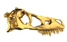 Golden Dino Skull. On white vector illustration