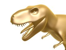 Golden dinosaur. T-rex isolated on white background Stock Photo