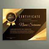 Golden diploma certificate with award symbol. Vector Stock Photo