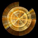 Golden disc. Concentric golden circles and lines on black background - fractal Stock Photos