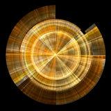 Golden disc. Concentric golden circles and lines on black background - fractal stock illustration