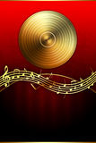 Golden Disc and Music Notes Stock Image