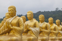 Golden disciple statues. In the row Royalty Free Stock Photography
