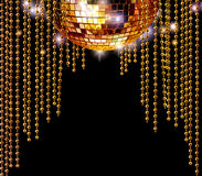 Golden disco ball and glitter curtains Stock Photo