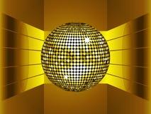 Golden disco ball on golden metallic environment. Golden Disco Ball on 3D Golden Metallic Environment with Gold Stripes Stock Photo
