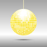 Golden disco ball icon. On gray perspective background Stock Images
