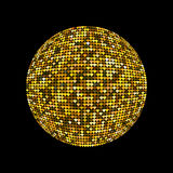 Golden disco ball. Shiny illuminated disco ball on a dark background for design flyers posters and other. Vector illustration with Stock Images
