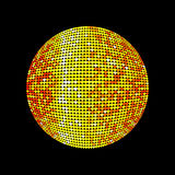 Golden disco ball. Shiny illuminated disco ball on a dark background for design flyers posters and other. Vector illustration with Royalty Free Stock Photos